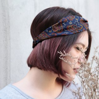 Old tavern dark blue retro amoeba handmade cross elastic hair band
