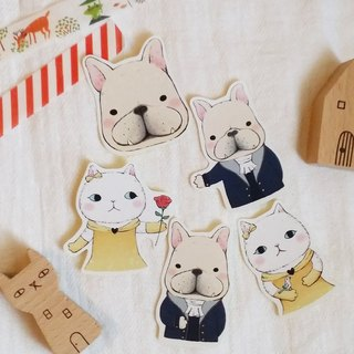 Matte Texture Stickers / Lovely Cat and Fight 04 (5 in)