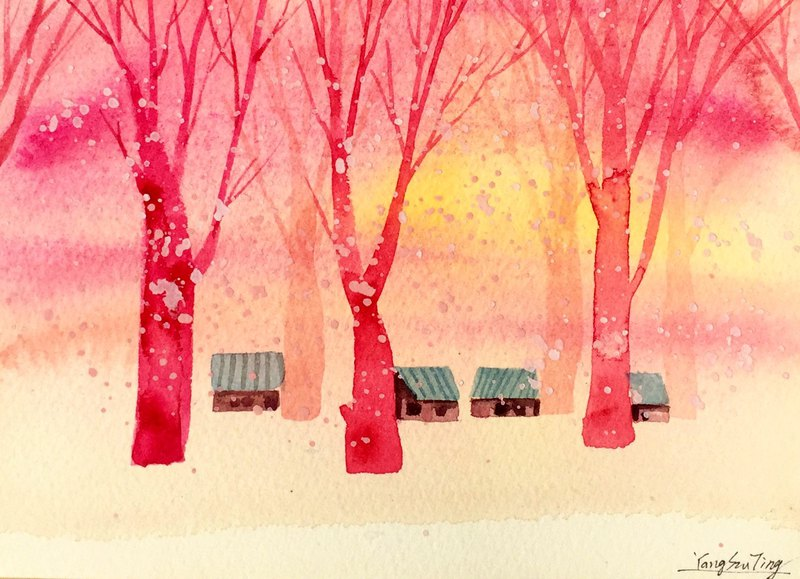 Ying Hong series of forest r3- watercolor hand-painted limited edition postcard / Christmas card