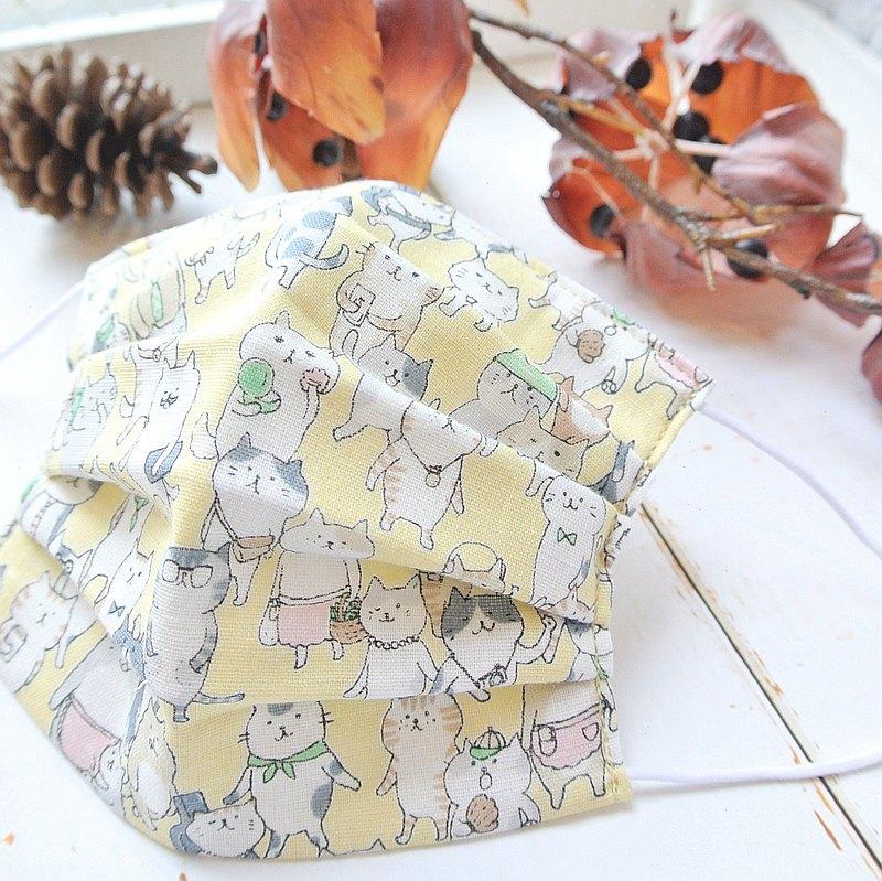 猫柄 黃色 手工立體口罩 可洗滌 日本製純棉二重紗布 成人