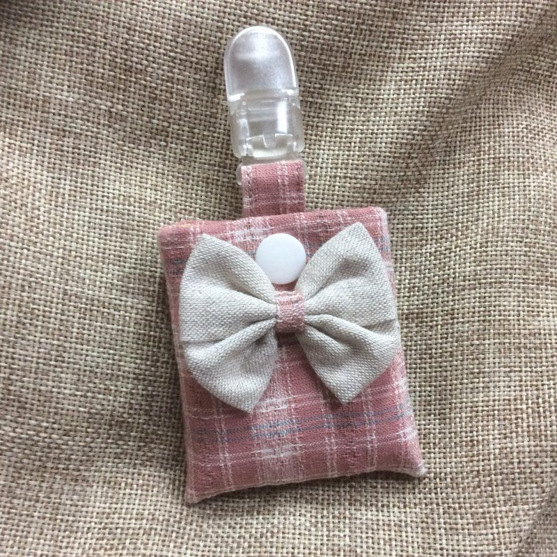 Peaceful bag key ring pink plaid - bow series
