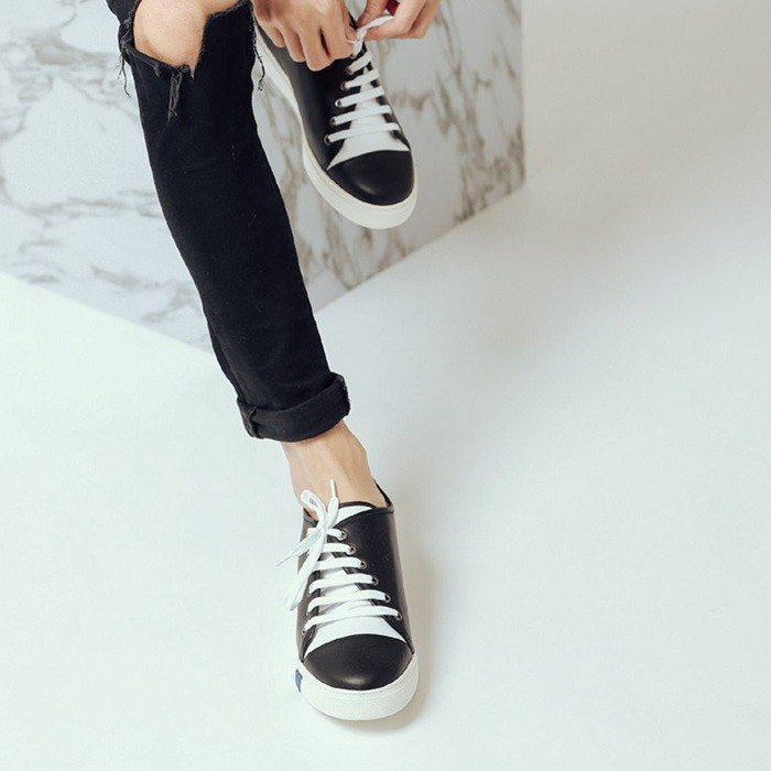Thick rope straps beveled asymmetric structure leather casual shoes black men