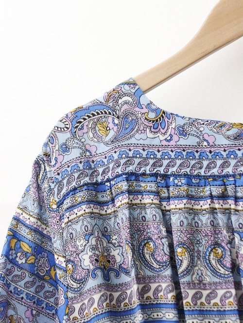【RE0809D1307】 summer complex ancient national wind totem printing gray purple short-sleeved ancient dress