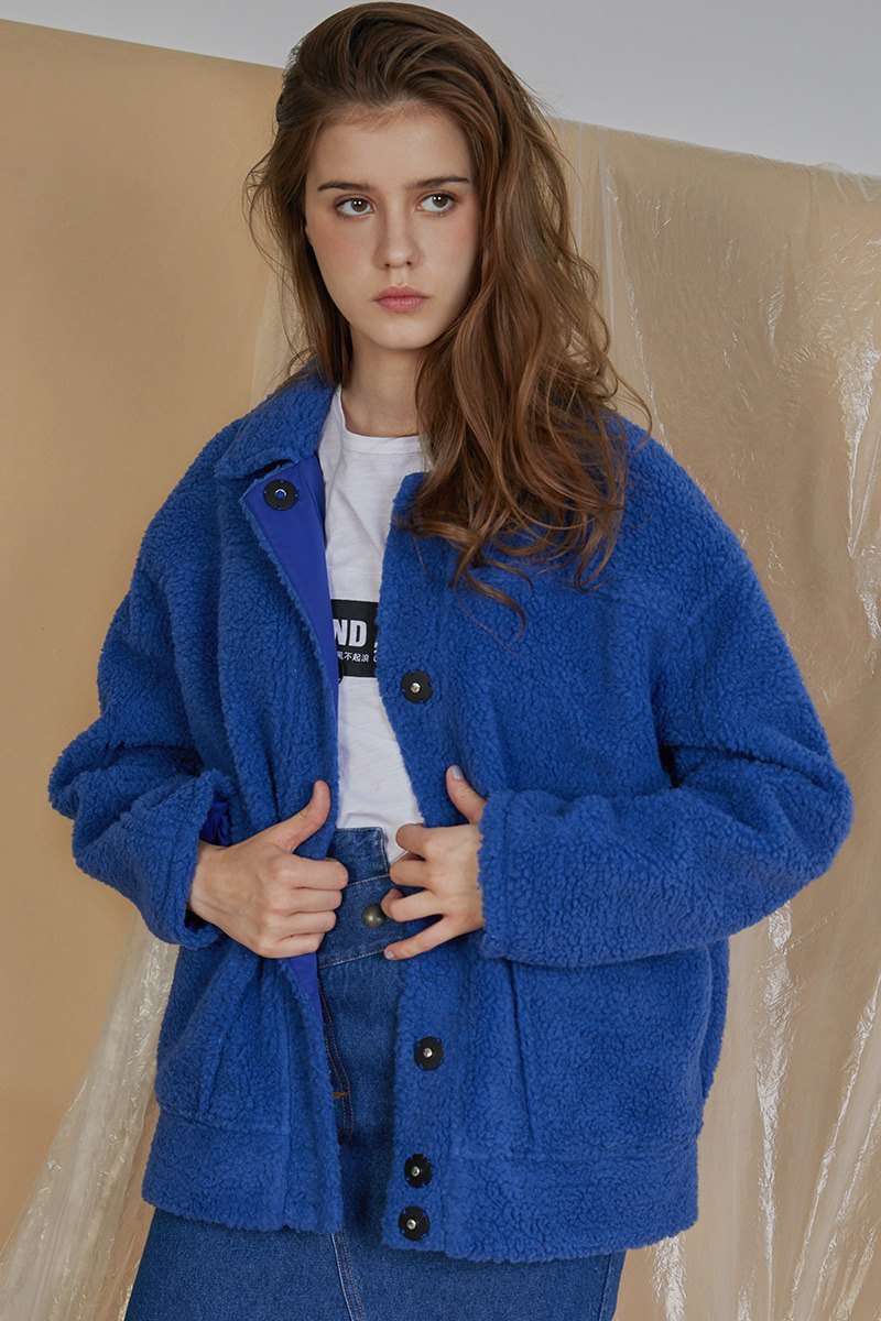 COFFEE PEPPER original design simple casual silhouette fog blue imitation lamb cashmere granule fur coat