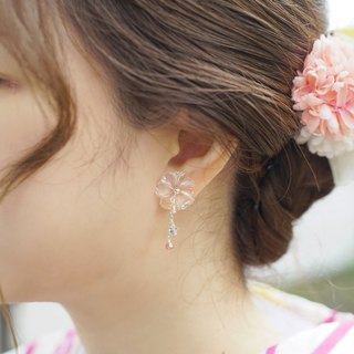 *hippie* 和風│Flower with 3-color Swarovski Crystals Sterling Silver Earrings