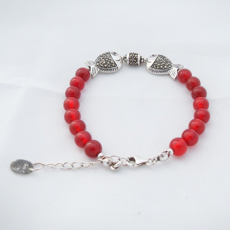 READ Dazzling Pisces Health Intelligence | Red Onyx 925 Sterling Silver Bracelet