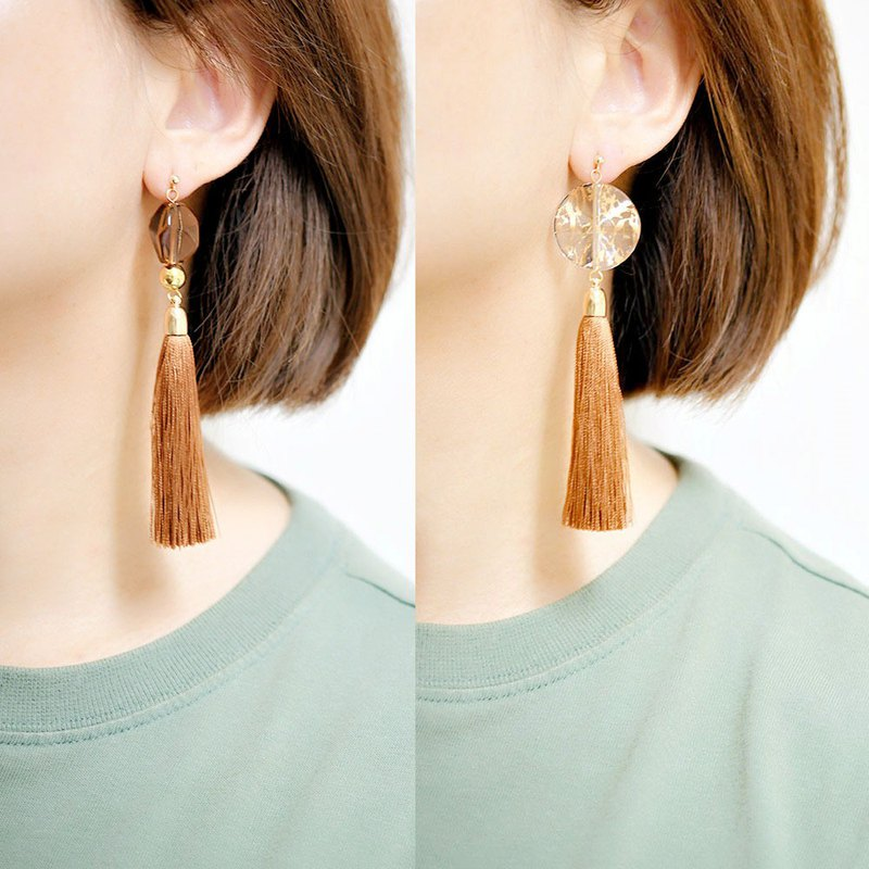 Asymmetric tassel and ice cube shaped brown large earrings earrings