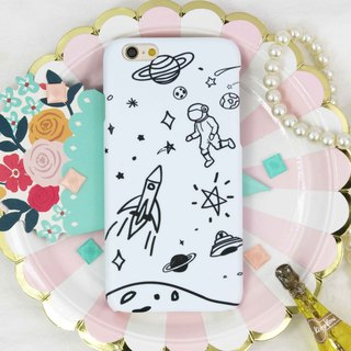 Handwriting galaxy spaceman Matt  hard Phone Case iPhone X 8 8 plus 7 7+ S8 S7