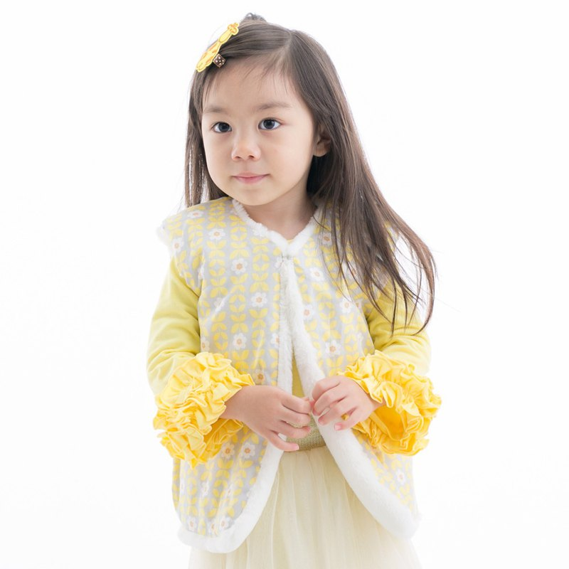 Warm fluffy vest fur vest printing can be worn on both sides of yellow flowers