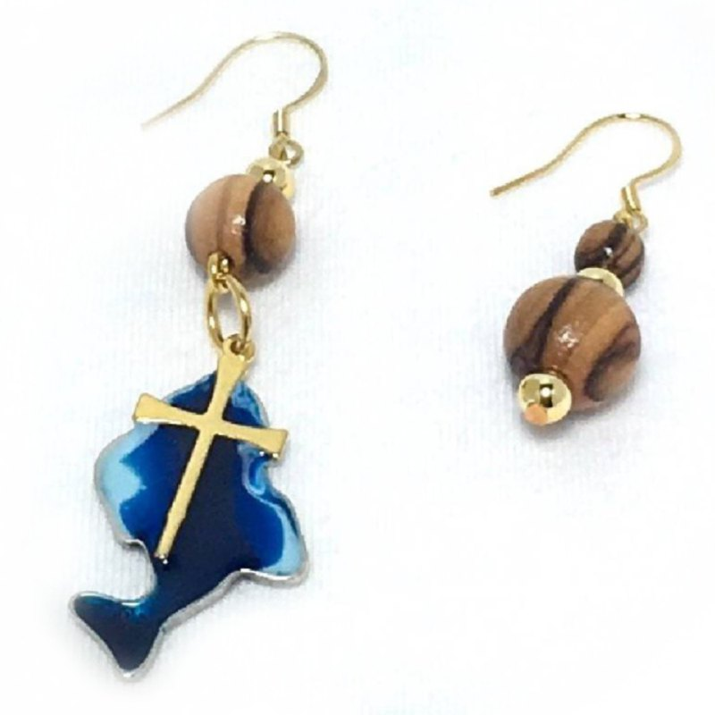 Israel imported natural olive wood 24k gold fish earrings #8210018