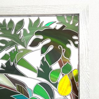 Glass Art Wooden White Frame Mirror  Ryukyu Island