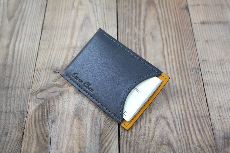 APEE leather handmade ~ simple business card holder ~ plain gray yellow