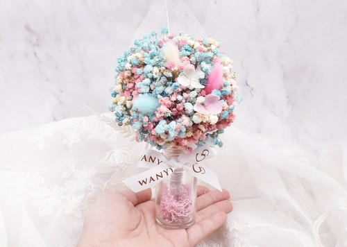 WANYI dream cotton candy Gypsophila flower tree dry flowers / stars / rabbittail / potted / desk decorations / gifts / wedding small things / Valentine's Day / gift / graduation gift / dream