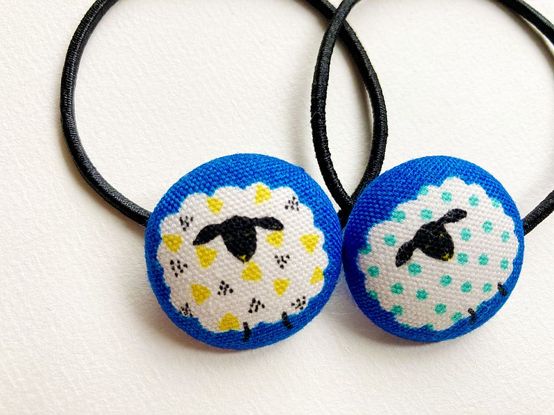 Hand-made cloth bag, button hair tie, dotted sheep