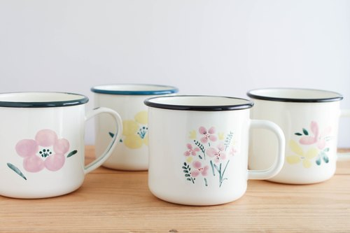 Hand painted enamel cup - A flower