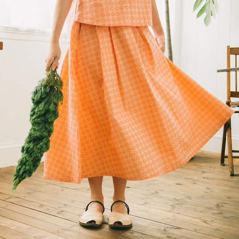 Long Skirt / Old Ceramic Tile No.2 / Peach Pink