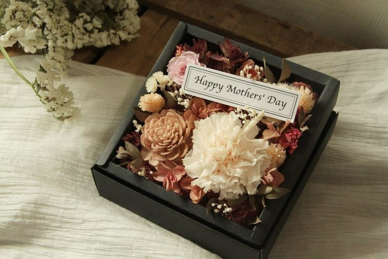 Champagne undisturbed carnation Mother's Day flower box