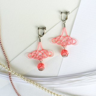 Rolled awaji rolling beads shake water cord earrings coral