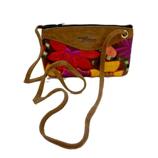 LEATHER & EMBROIDERY CROSSBODY BAG