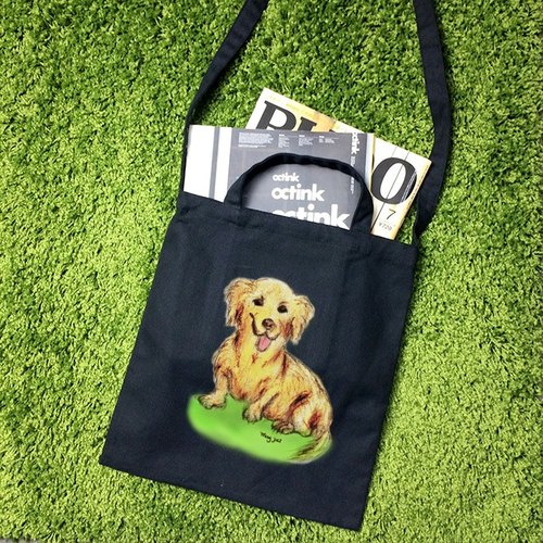 Cute sausage dog style wind straight canvas bag