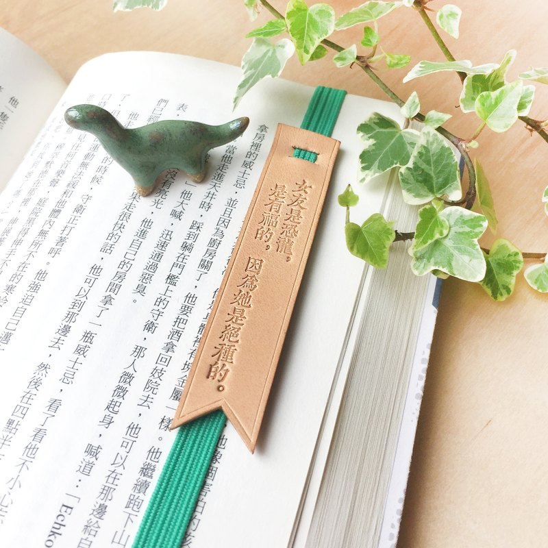 "Original and Hand-made Bookmark Strap with selected text / quotes-"" Dinosaur girl friend is a blessing, as she is an extinct species."""