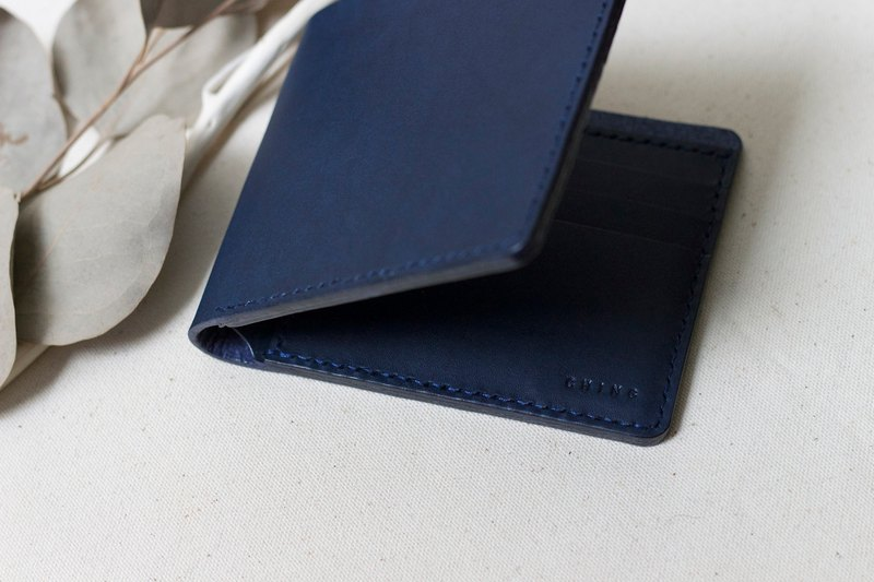Italy dark blue handmade vegetable tanned leather simple six card short clip