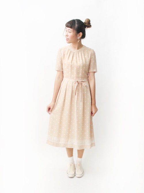 【RE1004D1478】 early autumn Japanese system retro color pink orange short-sleeved ancient dress