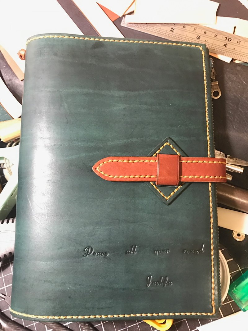 Handmade hand-dyed leather slipcase A5