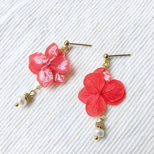 Beauty series earrings | red / not withered / dried flowers / hydrangea / custom / hand / earrings
