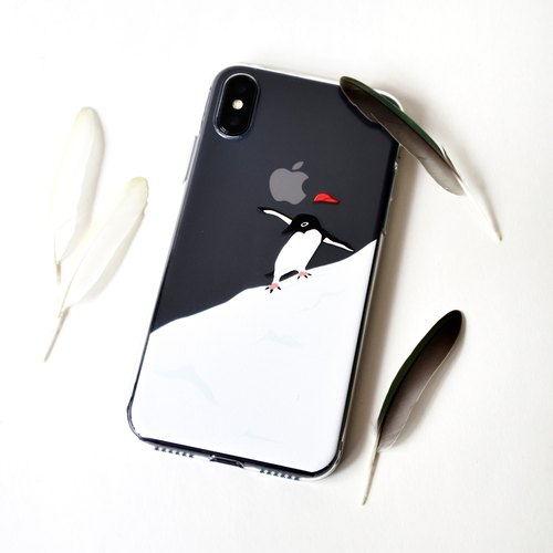 The Simple Skiing Penguin pattern phone case, for iPhone, Samsung
