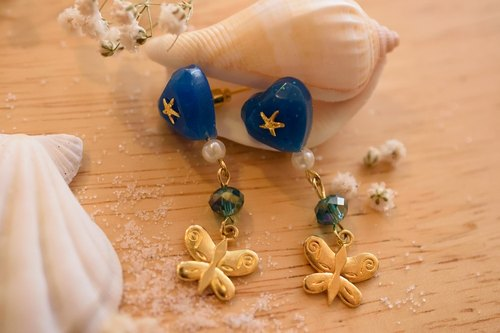 Cute & Beauty Blue Heart with Crystal Earrings Resin