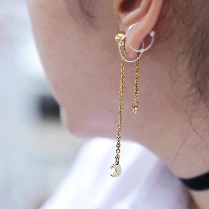 a9c7e3c17 Tiny Crescent Moon and Star Earring, Dangle & Drop Earrings, Dangle  Earrings - Designer Napakas | Pinkoi