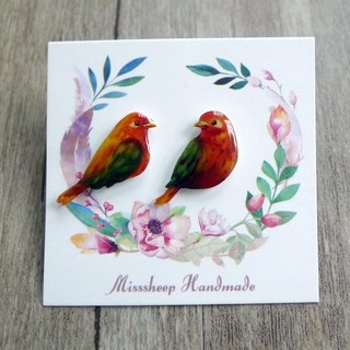 Misssheep-U28- Take me home - Watercolor hand-painted style orange green wing bird hand made earrings (ear pin / transparent ear clip) (pair)