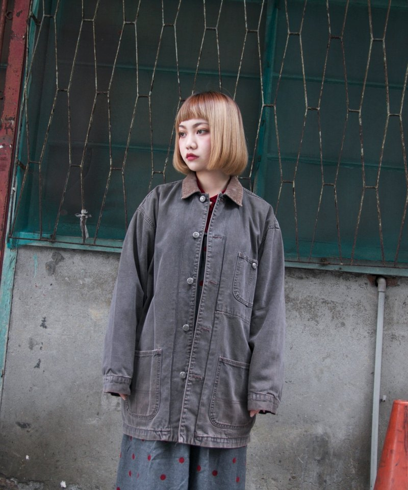Back to Green :: postwar era // fog gray with brown corduroy collar // ★ Unisex wear rear have small stains reference Figure IV ★ vintage denim (DJ-21)