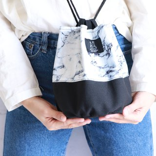 Marble printed side bucket bag