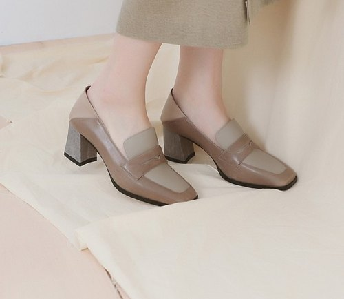 Soft heel square head with a leather bag shoes slippers brown