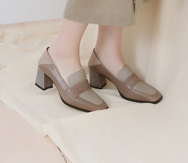 Soft heel square head with leather shoes, slippers, brown