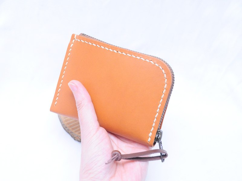 6-inch pull leather wallet well sewn leather material bag manual bag short clip purse Italian leather
