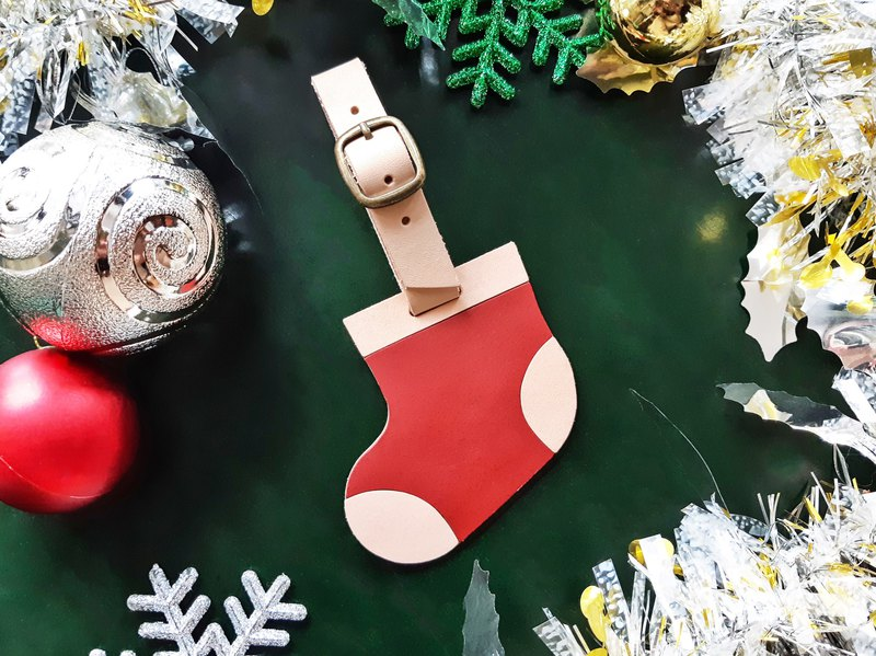 #Finished product manufacturing Christmas socks leather luggage tag handmade leather Christmas gift luggage tag travel