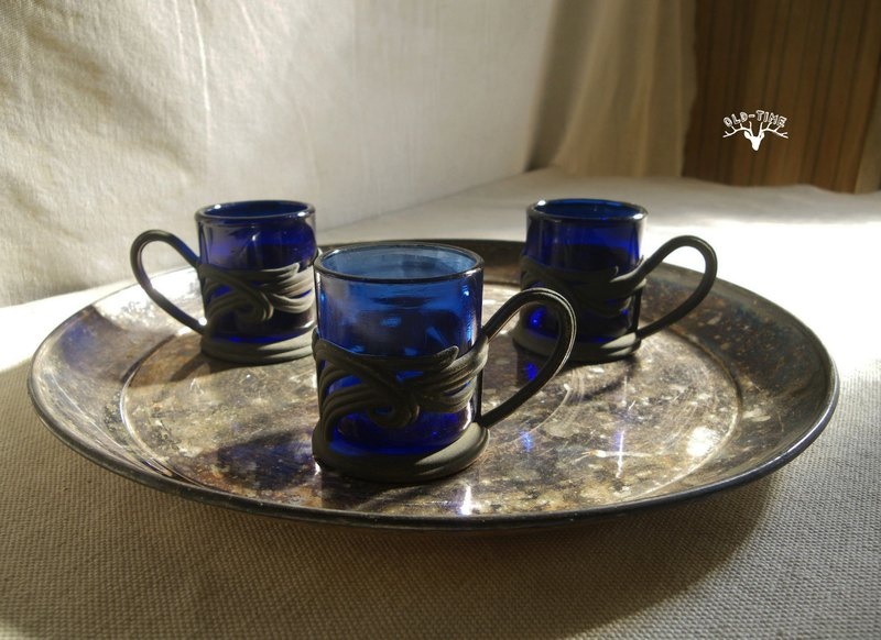 [Old Time OLD-TIME] Early copper blue glass coffee cup (three pieces sold together without tray)