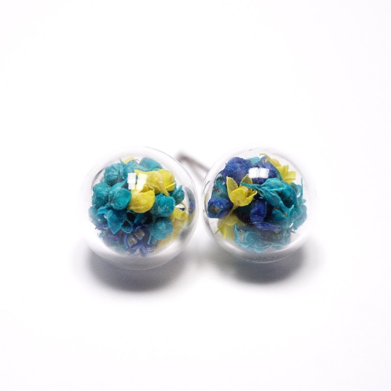 A Handmade blue with yellow stars tune glass ball earrings