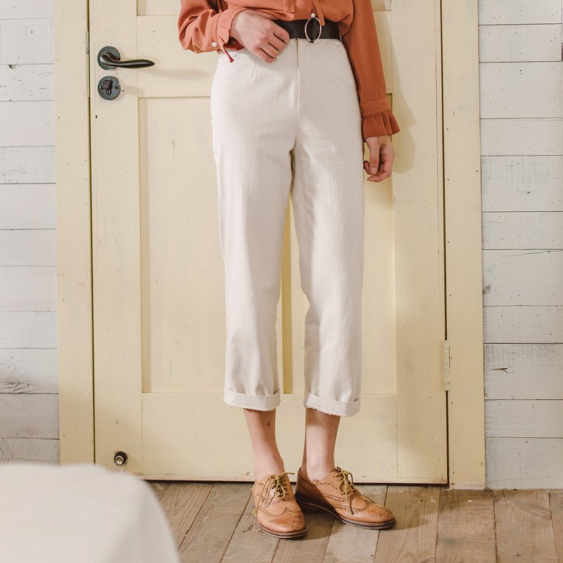 Anne Chen 2018 spring and summer new women's pants seven pants pants color belt straight pants