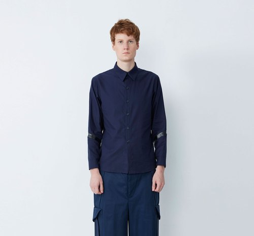 Small action - breathable splicing machine shirt - blue