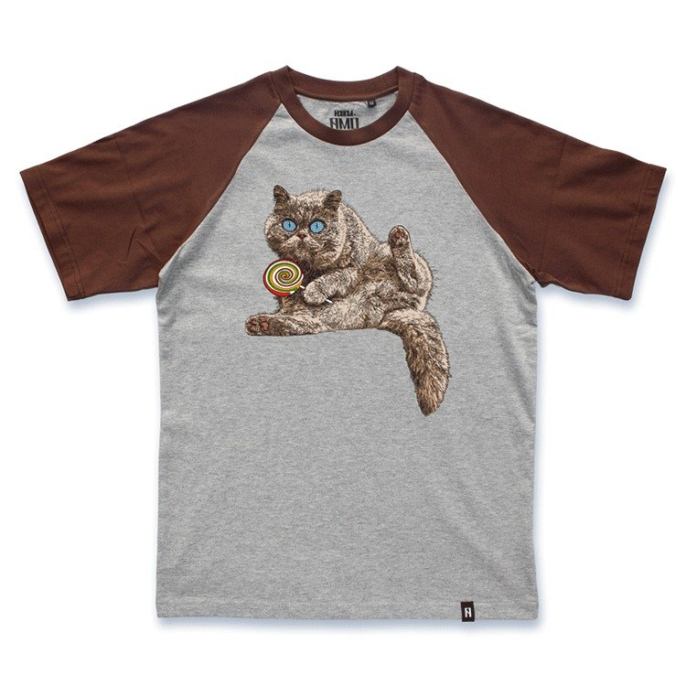 AMO®Original  canned  cotton T-shirt/AKE/The Cat Worring His Lollipop Being Snatched