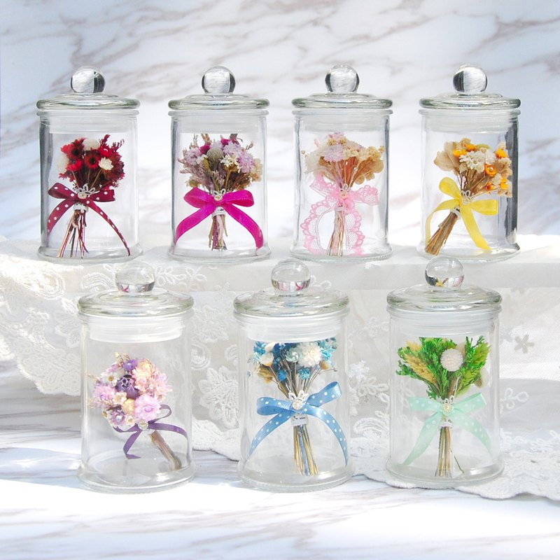 Dry bouquet in mini bottle-multi-color wedding objects, mother's day gift, graduation gift, birthday gift