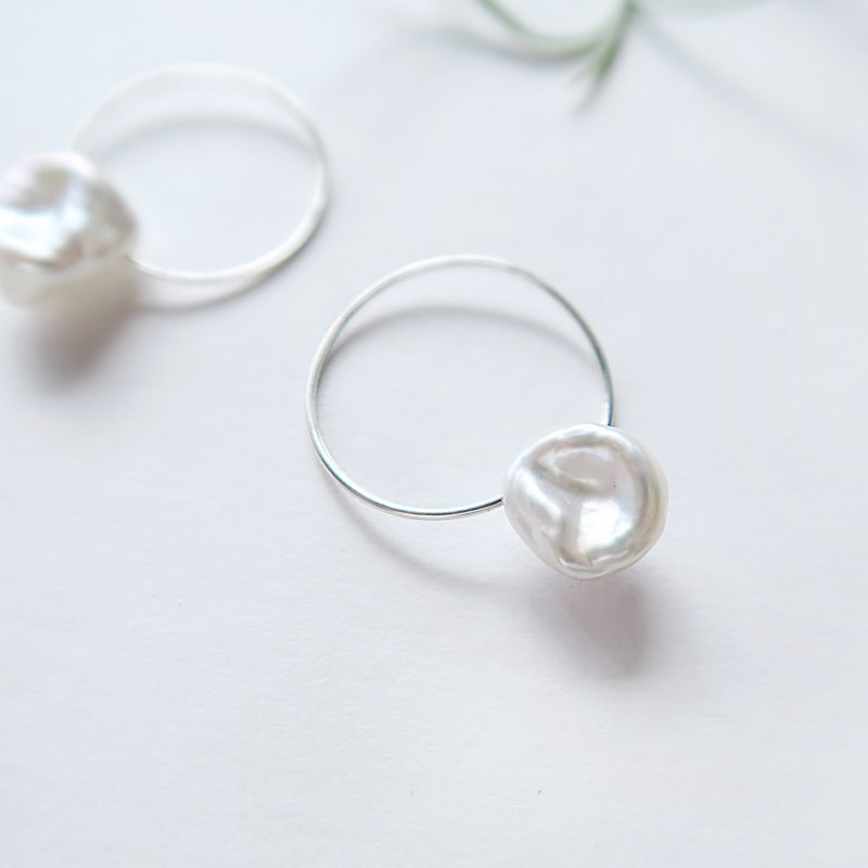 925 sterling silver irregular shaped freshwater pearl C ring earrings earrings pair