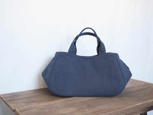 Round tote with lid L (smoky blue)