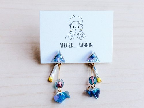 Triangular planet sequins hand-made two wearing handmade earrings ear ear clip / ear clip