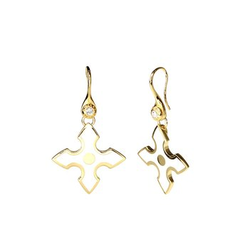 Knight Spirit Galahad 掐 silk 珐琅 series earrings (Gold) - 18112151119