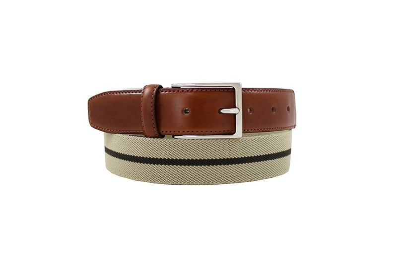 LAPELI │ Belgian elastic fabric belt - two-color stripes brown